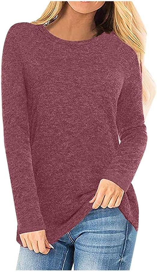 Moent Cuello Redondo de otoño e Invierno para Mujer Camisa de Fondo Suelto de Color Liso Top de Manga Larga Jersey de otoño de Invierno para Mujer: Amazon.es: Ropa y accesorios