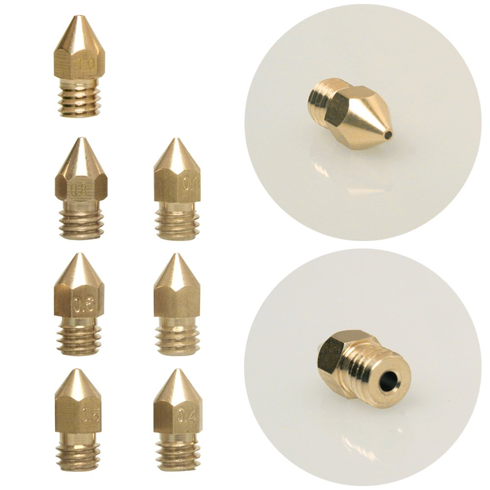 ANET A8 and CR-10 Printer Kulannder KD-3DHead18 for 1.75MM MK8 Makerbot 18 Pcs MK8 Extruder Nozzle M6 3D Printer Extruder Brass Nozzle Print Head with 7 Different Sizes 0.2mm, 0.3mm, 0.4mm, 0.5mm, 0.6mm, 0.8mm, 1.0mm