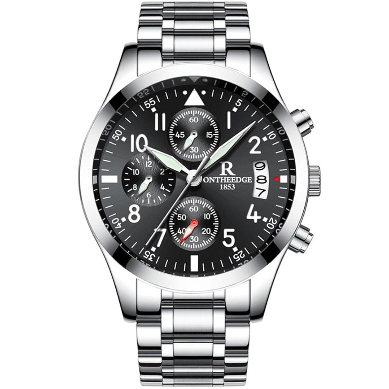 メンズステンレススチールWatch, LuxuryアナログWrist Watchesクロノグラフドレスウォッチ光ポインタ(シルバーストラップwith Black Face) B07CJLQZVJ
