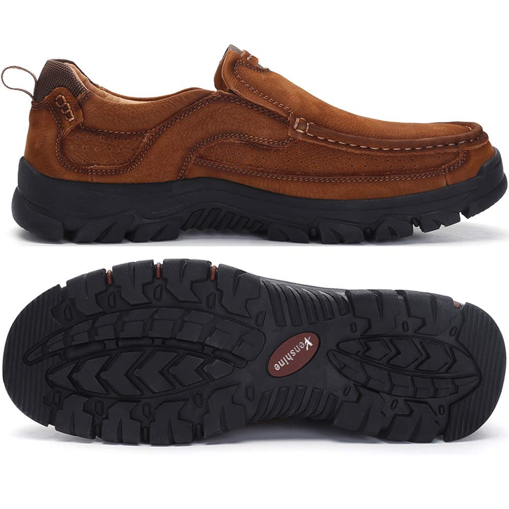 VENSHINE Mens Walking Shoes Leather Lightweight Breathable Casual Slip On Loafers
