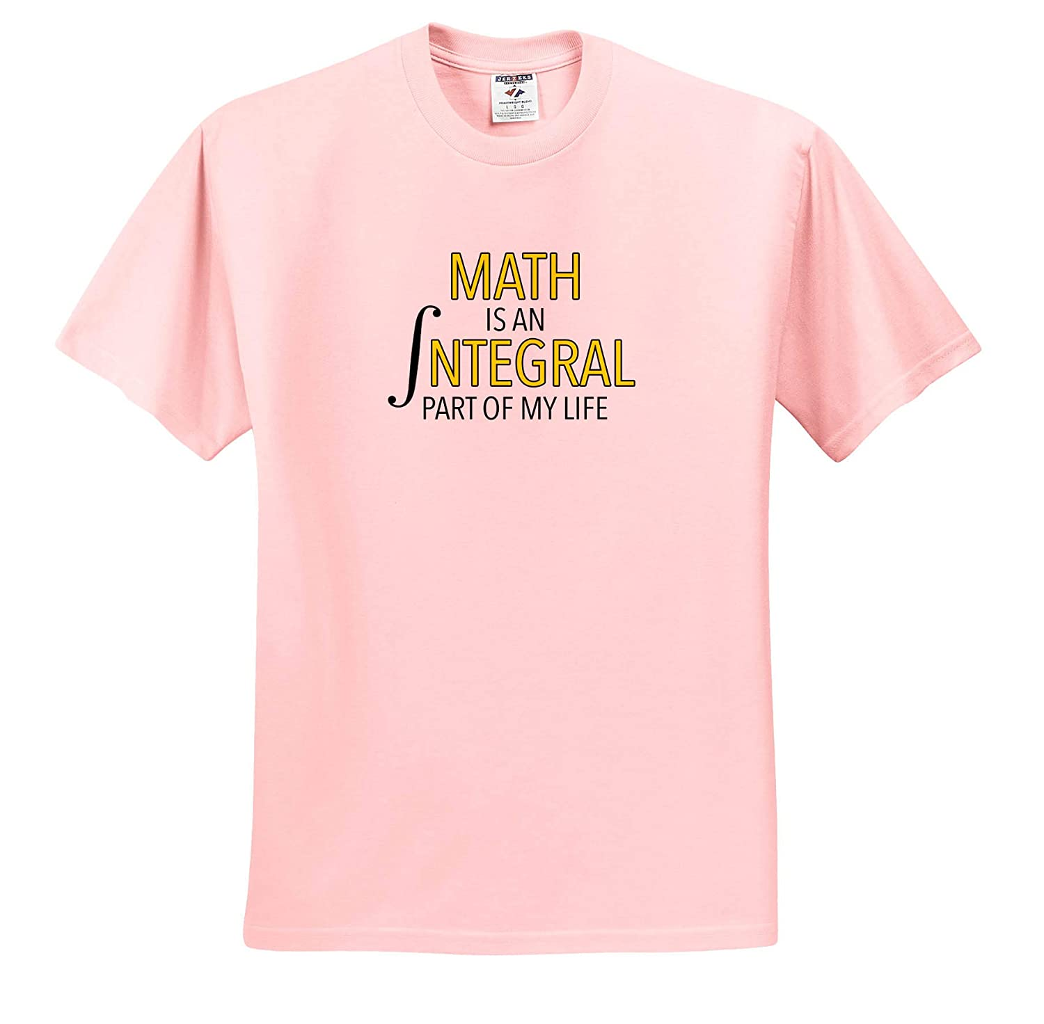 Adult T-Shirt XL Funny Sayings ts/_310823 Math is an Integral Part of My Life Yellow 3dRose EvaDane