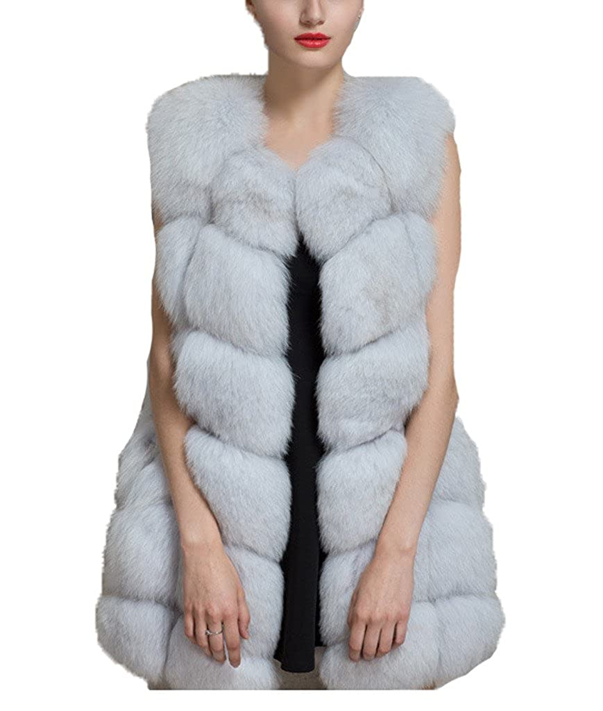 yxjdress mujeres Faux de piel de zorro chaqueta de ropa chaleco ...