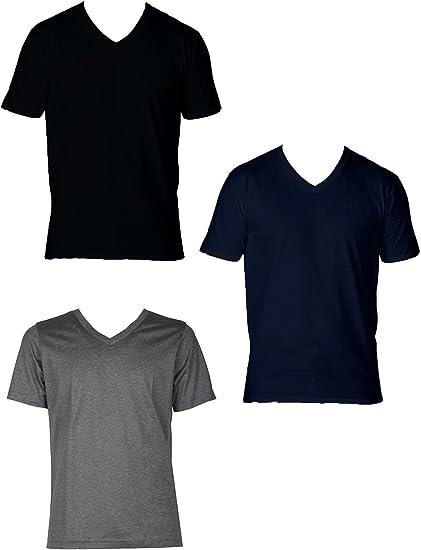 Nero, 6//XL Enrico Coveri 3 t-Shirt Uomo Mezza Manica Scollo a V in Cotone Pettinato Art ET1101
