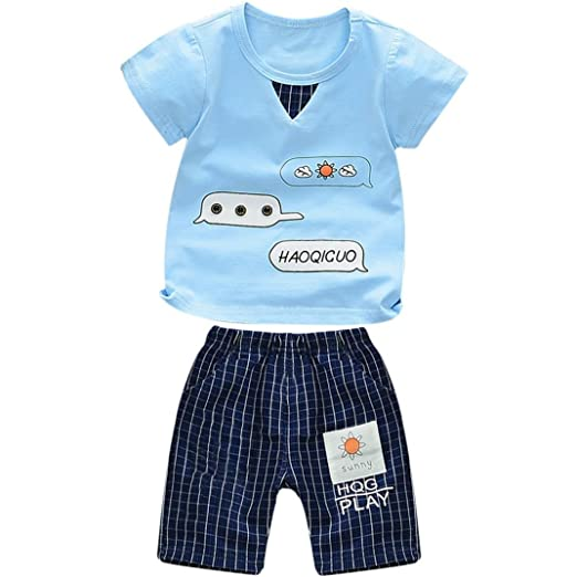 4407f82b3500 Baby Boy's Cotton Cute Short Sleeve Letter Tops+Shorts Outfits Clothes Set  (Blue,