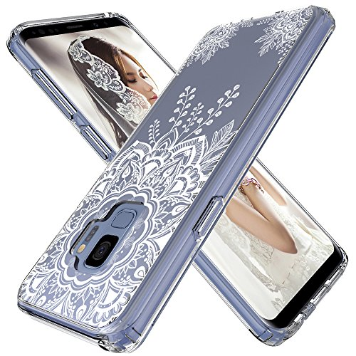 LK Case for Galaxy S9, [Shock Absorbing] White Henna Mandala Floral Lace Clear Design Printed Air Hybrid with TPU Bumper Protective Case Cover for Samsung Galaxy S9