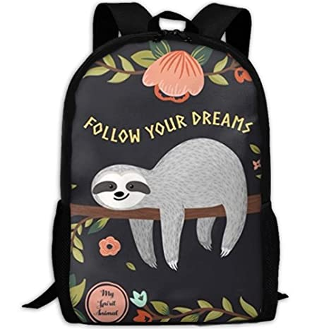 ac17dc0d2ae2 Amazon.com: Laptop Backpack For Women Men Follow Your Dreams Sloth ...