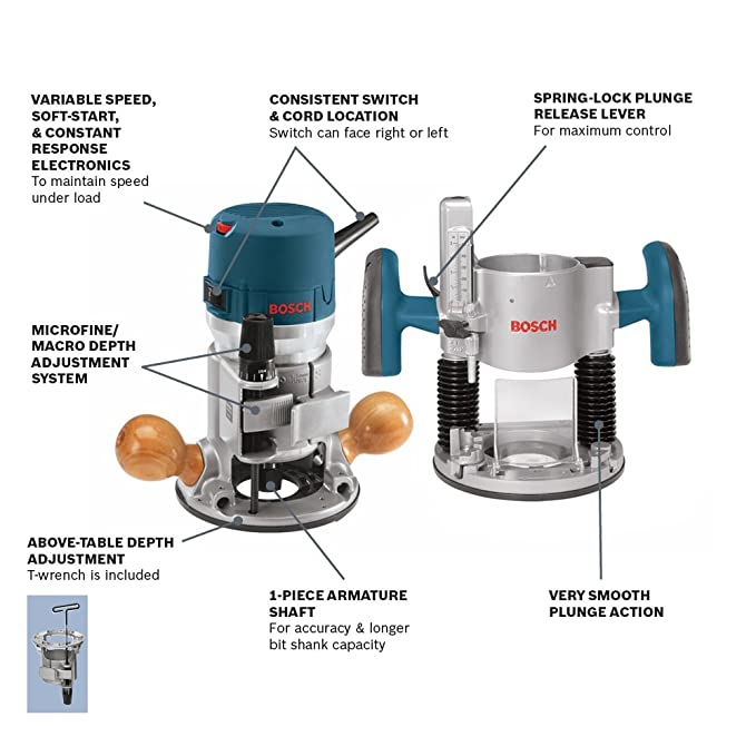 Bosch 12 amp 2 14 combination horsepower plunge and fixed base bosch 12 amp 2 14 combination horsepower plunge and fixed base variable speed router kit 1617evspk with 14 inch and 12 inch collets power routers greentooth Choice Image