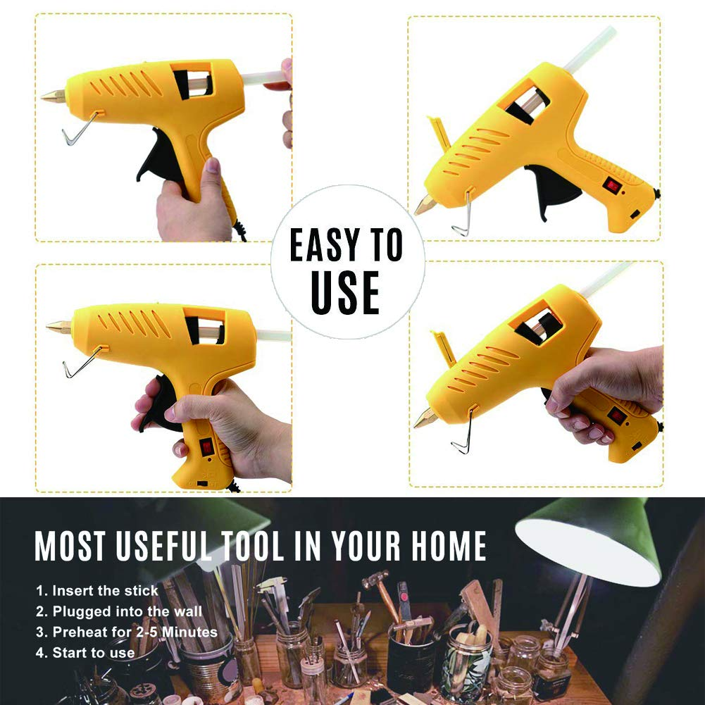 Hot Glue Gun with LED Light, Upgraded Dual Power 60W/100W High Temperature, Full Size and Heavy Duty Melt Glue Gun Kit, Including 10pcs Glue Sticks for DIY, Decoration, Crafts, Home Repair and More