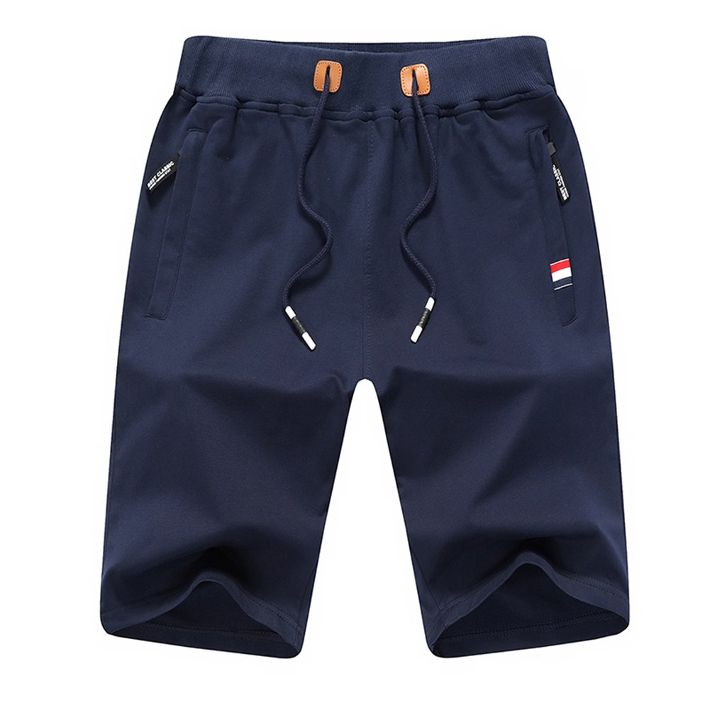 Tansozer Men's Cotton Casual Fit Shorts Fashion Classic Drawstring Summer Short Pants with Zipper Pockets and Elastic Waist (Tag 3XL(Waist 32''-33''), A-Navy Blue)