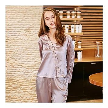7a1ec6e70e01a HAOLIEQUAN Pyjamas Femmes Satin Soie Femmes Pyjama Ensemble V Cou Pyjamas  Pleine Pantalon Ensemble Deux Pièces