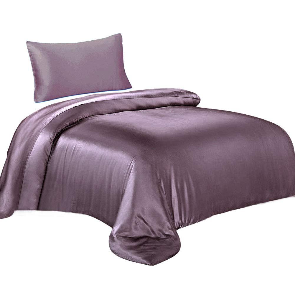 THXSILK Seide Bettwäsche-Sets 19 Momme 2 Teilig Bettbezug 135 x 200 cm mit 40 x 80 cm Kissenbezüge, 100% Bestnote Maulbeerseide Bettwäsche-Lila-1