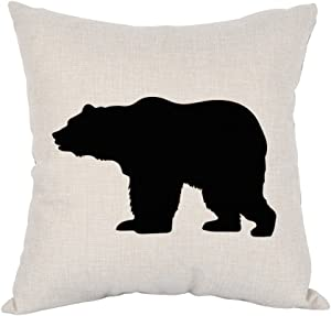 Moslion Bear Pillow,Home Decor Throw Pillow Cover Black Bear Cotton Linen Cushion for Couch/Sofa/Bedroom/Livingroom/Kitchen/Car 18 x 18 inch Square Pillow case