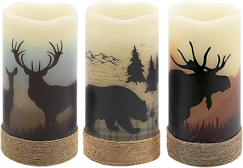 GenSwin Flameless Flickering Led Candles with Hemp Rope and 6H Timer, Battery Operated Set of 3 Real Wax Pillar Candles Warm Light with Elk, Moose, Bear Decals Decor Christmas Home