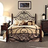 Queen Size Antique Style Wood Metal Wrought Iron Look Rustic Victorian Vintage Bed Frame Cherry Bronze Finish Scroll Design Great for Men's or Women's Bedroom Furniture Modern Traditional Home Deocr