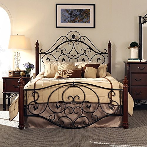 queen size antique style wood metal wrought iron look rustic vintage bed frame cherry bronze finish scroll design great men women bedroom set black furniture wr