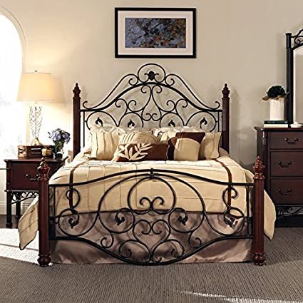 Amazon.com: Queen Size Antique Style Wood Metal Wrought Iron Look ...