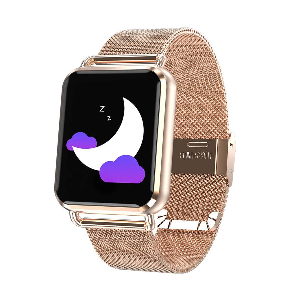 JDgoods Smart Fitness Watch, Color Screen Sport Health Tracker, Activity Tracker with Heart Rate Blood Pressure Calories Pedometer Sleep Monitor Call/SMS Remind for Smartphones Gift (Gold)
