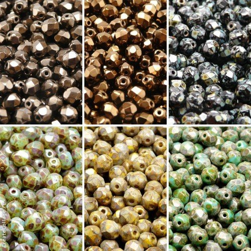 300 beads 6 colors Unique Set 615, Czech Fire-Polished Faceted Glass Beads Round 6mm, 6FP024 6FP025 6FP026 6FP040 6FP047 6FP051
