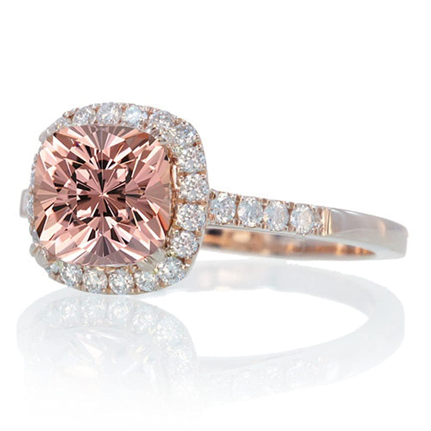 15 Carat Perfect Cushion Morganite And Diamond Engagement Ring On 10k Rose  Gold  Amazon