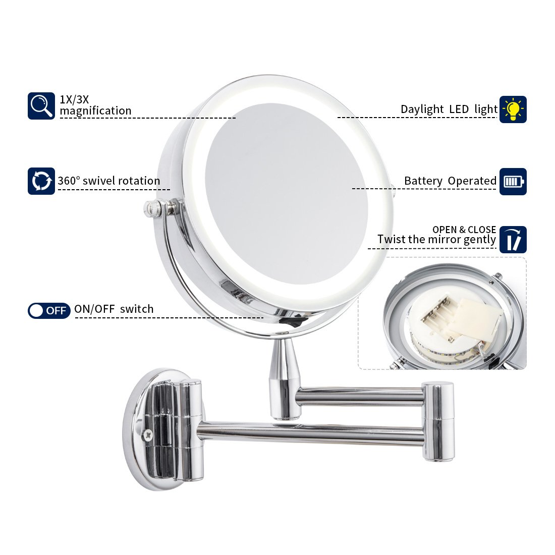 1X/3X Magnification Led Cosmetic Mirror Wall Mounted, Double Side, Adjustable, Rotating Function, Lighted Vanity Mirror, Powered by 4 x AAA Batteries (not Included) by FIRMLOC (Image #4)