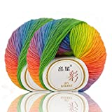 #3: 50g×2 Skein Rainbow Yarn Soft Warm Wool Crochet Colorful Yarn for Hand Knitting by NICEEC Total Length 180m×2(196yds×2)-11