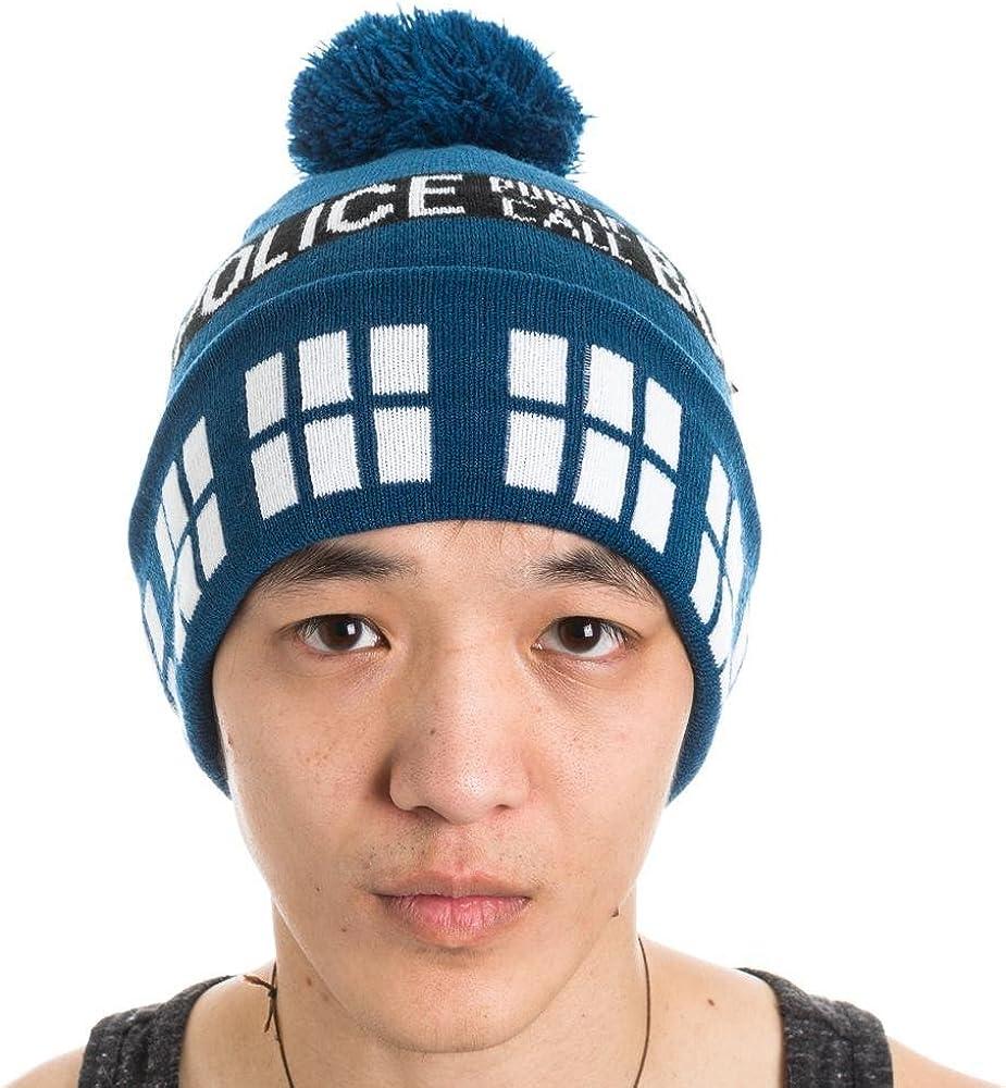 Dr Who Police Box Public Call Tardis Pom Beanie Doctor