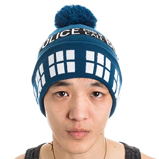 df5c3465fdd Image Unavailable. Image not available for. Color  Dr Who Police Box Public  Call Tardis Pom Beanie Doctor