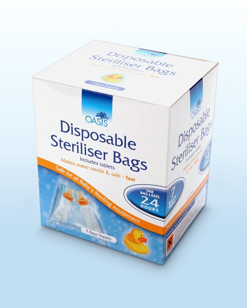Disposable Sterliser Bags (7 day supply) Oasis 5016564370218 Baby Nursery Equipment sterliser travel holiday baby disposable