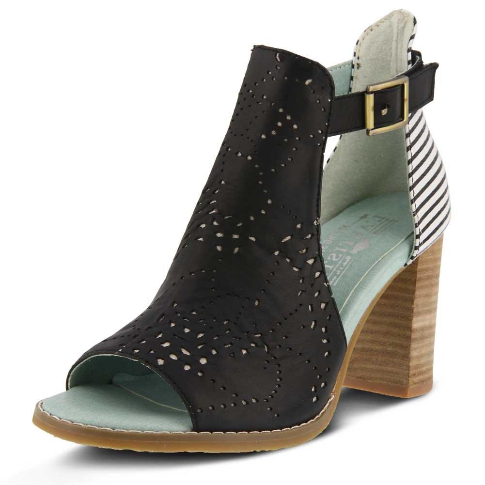 L'Artiste by Spring Step Women's Style Lashon Black Multi EURO Size 40 Leather Sandal