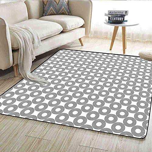 (Rugs Geometric Circle,Vinyl Records Inspired Concentric Rings with Curve Grids Artwork Print,Black Gray Floor Mat 6'6