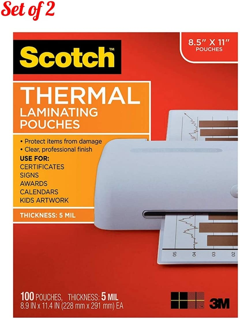 NEW AmazonBasics Thermal Laminating Pouches 8.9 x 11.4 Inches 100 Pack