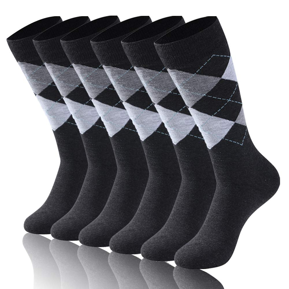 Diwollsam Men Fancy Socks Crew, Unisex Pattern Ribbed Smooth Grey Argyle Present Classic Casual Business Wedding Climbing Dress Socks, 6 Pairs(Argyle, M) by diwollsam