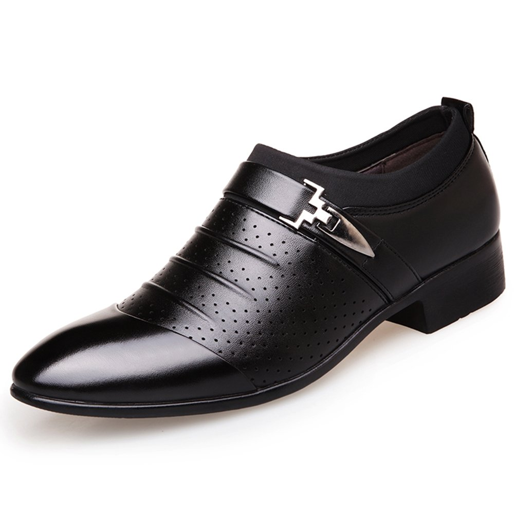 YING LAN Men's Casual Dress Pointed Toe Formal Business Wedding Shoes Breathable Hole Oxfords Black