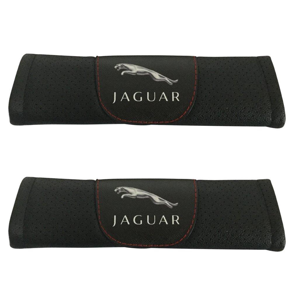 2pcs Jaguar Logo Black Leather Car Seat Safety Belt Strap Covers Shoulder Pad Accessories Fit For Jaguar E-Pace F-Pace F-type I-Pace XE XF XJ XJR575 Jimat