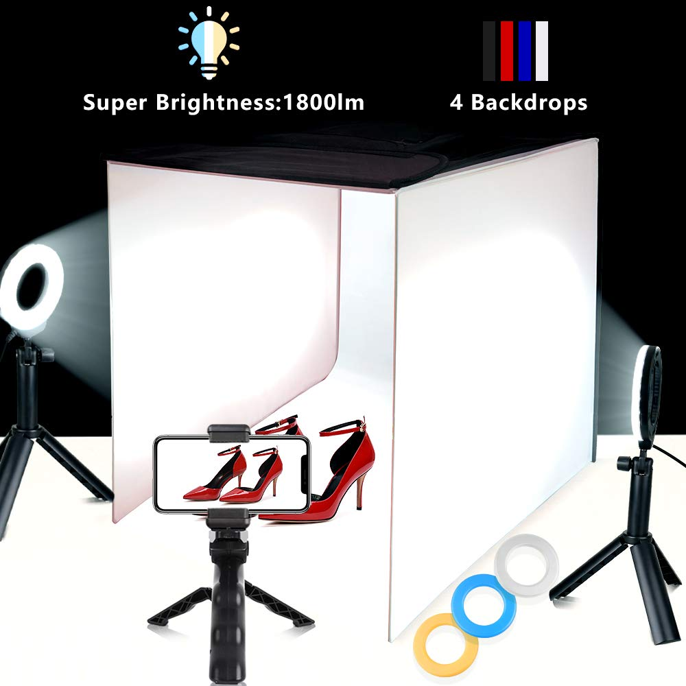 Photo Light Box TRAVOR Portable 16''x16'' Photography Studio Box Shooting Tent Kit with 4 Color Backdrops, 6 Filters and Phone Holder for Photography Product by Travor