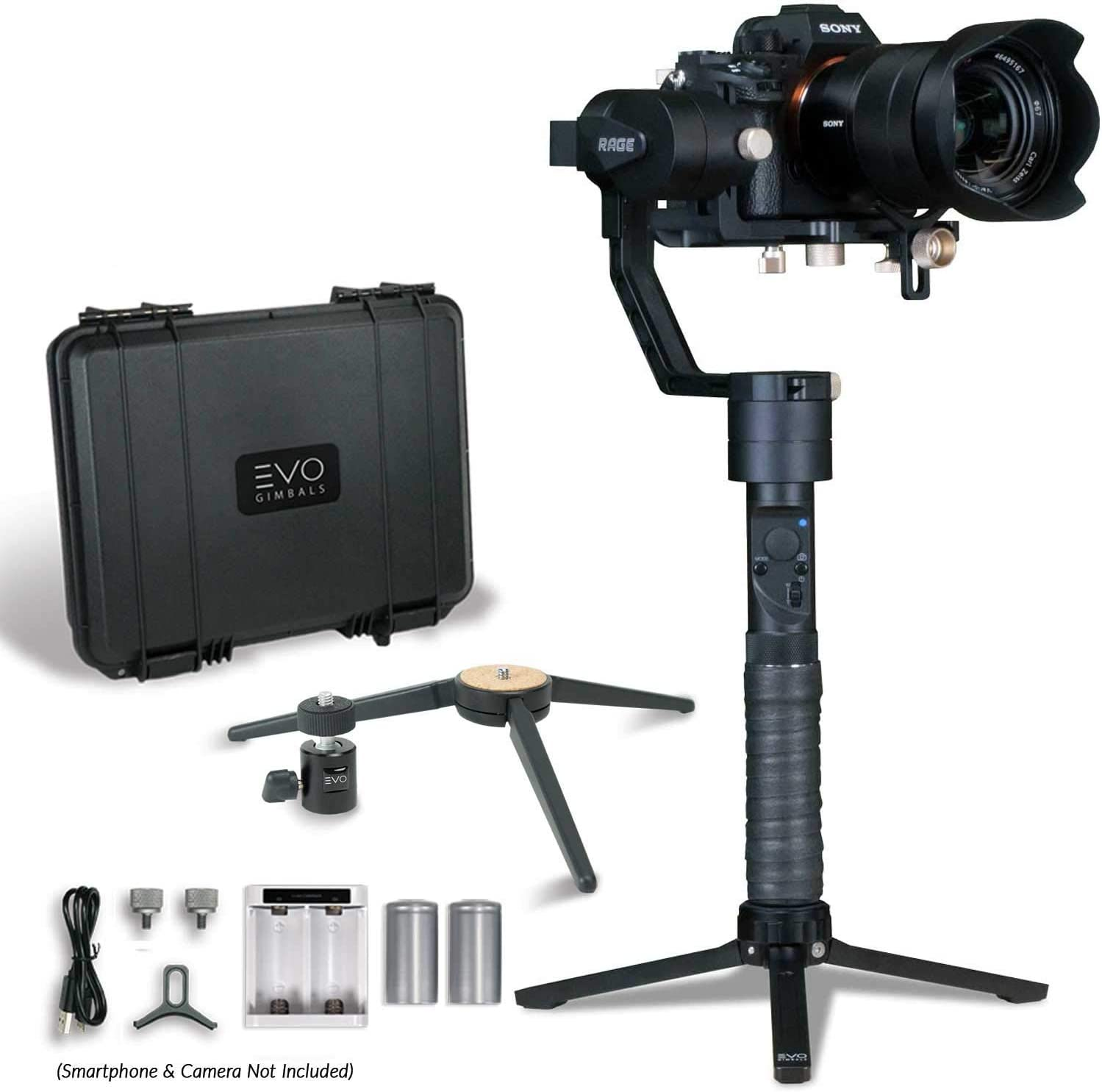 Bundle Includes: EVO Rage Gen2 2 Items EVO Rage Gen2 Camera Stabilizer for DSLR or Mirrorless Cameras EVO GS-150 Tripod Stand Works with Sony A7S II Panasonic GH4 GH5