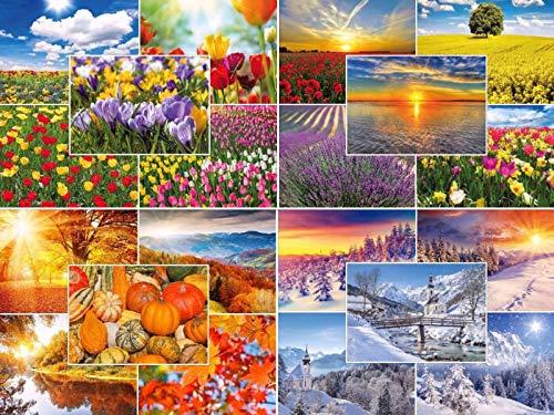 'Quattro Stagioni: 20Set di cartoline–Naturale/paesaggi (20diversi motivi) in primavera, estate, autunno e inverno Edition Colibri