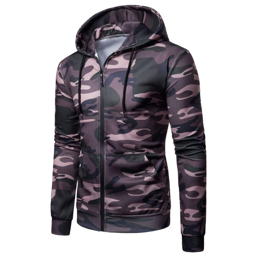 Corriee Men Hoodies Men's Fashion Long Sleeve Camouflage Print Hooded Coat Casual Zipper Sport Outwear Blouse with Pockets