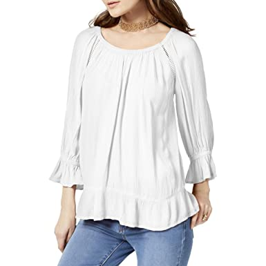 292519d357b7e Amazon.com  INC Womens Petites Crochet Trim Peasant Blouse  Clothing