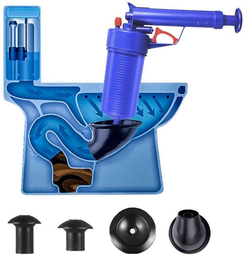 Toilet Plunger, Drain Clog Remover Tool,Air Drain Blaster,High Pressure Plunger Opener Cleaner Pump for Bath Toilets, Bathroom, Shower, Kitchen Clogged Pipe Bathtub (Blue)