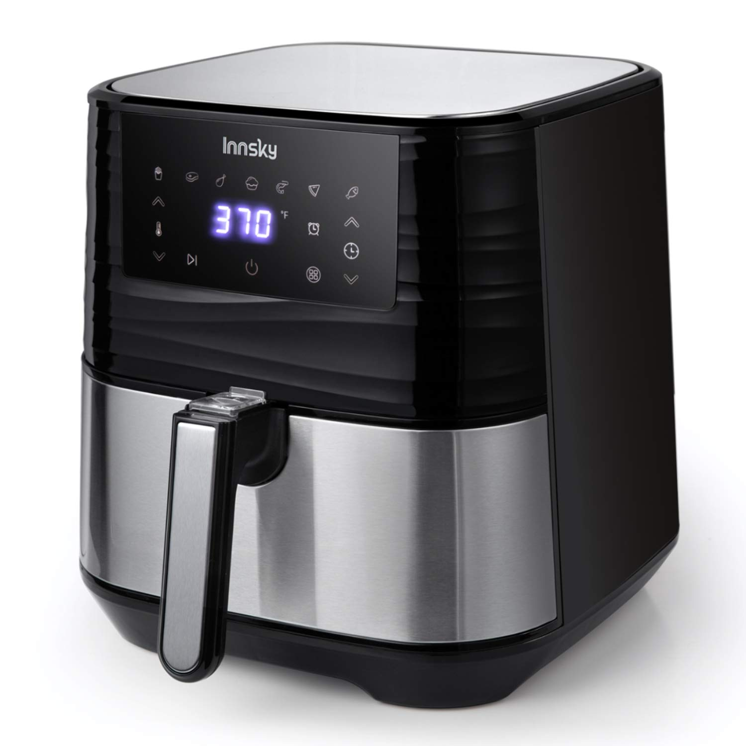 Air Fryer XL, Innsky 5.8QT 1700W Electric Stainless Steel Air Fryers Oven Oilless Cooker, 7 Cooking Presets, Preheat & LED Digital Touchscreen, Nonstick Basket, 18+3 Months Warranty (Recipe book Included)