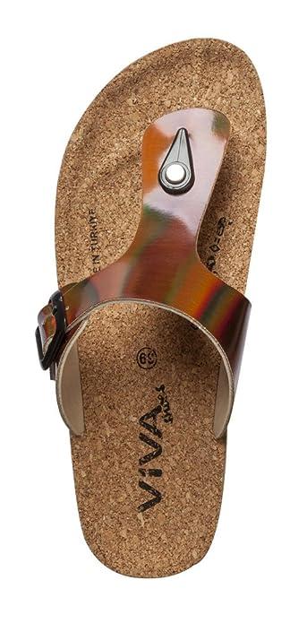 Damen Sandalen Zehentrenner Sandaletten in Lackoptik Metallic bronze (38, bronze)