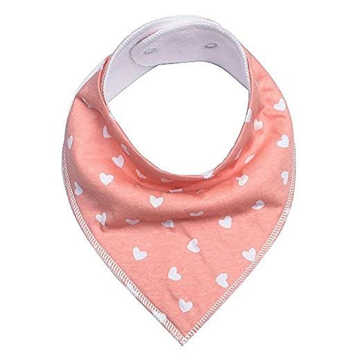 Pink Hearts Baby Bandana Drool Bibs for Drooling and Teething Baby