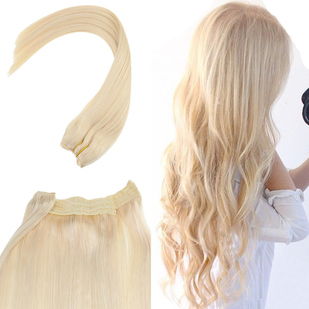 Amazon Youngsee 18inch Flip Halo Blonde Human Hair Extensions