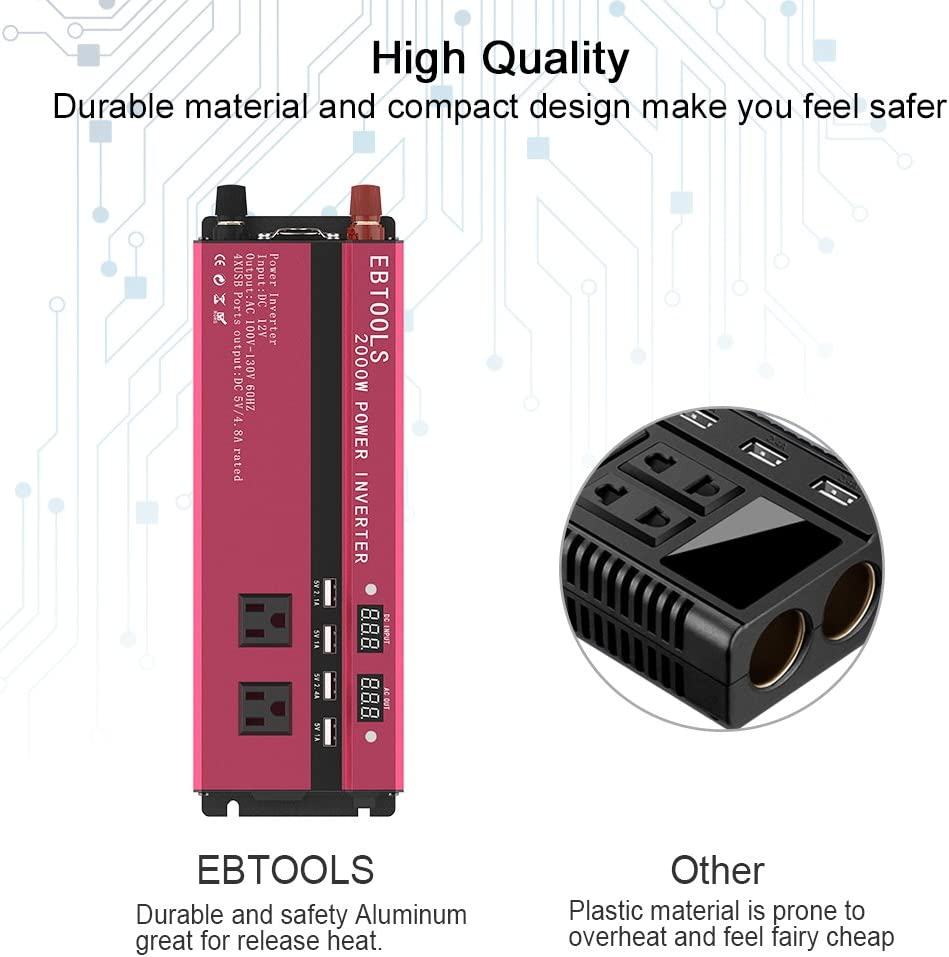 1000W//2000W Digital Display Inverter 12V DC to 110V AC Car Converter with 3 AC Outlets Household Appliances in case Emergency Storm Smartphone 4 USB Port for Laptop EBTOOLS Car Power Inverter