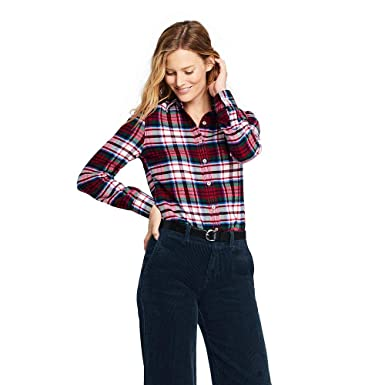b7fa574ce582b Lands  End Women s Flannel Shirt at Amazon Women s Clothing store
