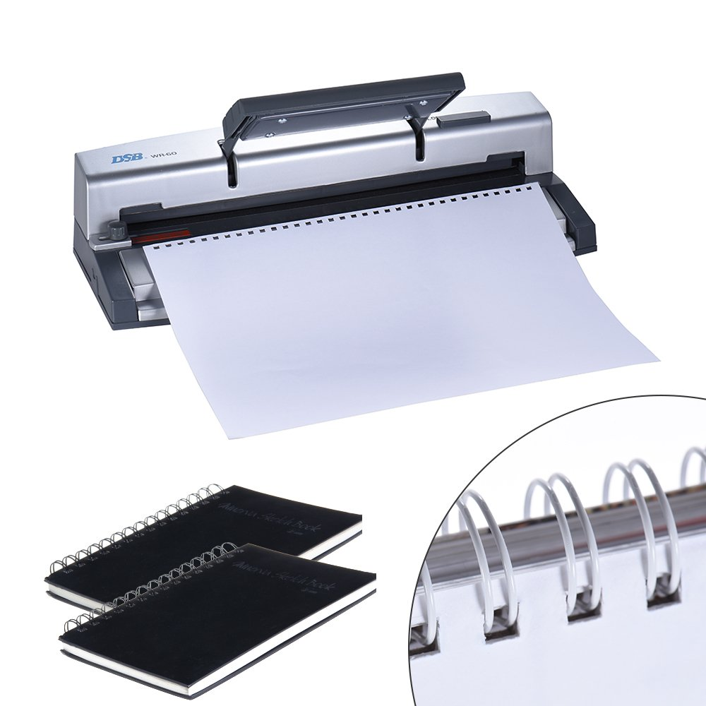 Aibecy DSB WR-60 A4 Paper Puncher + Binder Punch Wire Binding Machine 34/32 Holes, 6 Sheets Punching, 45 Sheets Binding, Support 6.4mm Wire by Aibecy (Image #4)