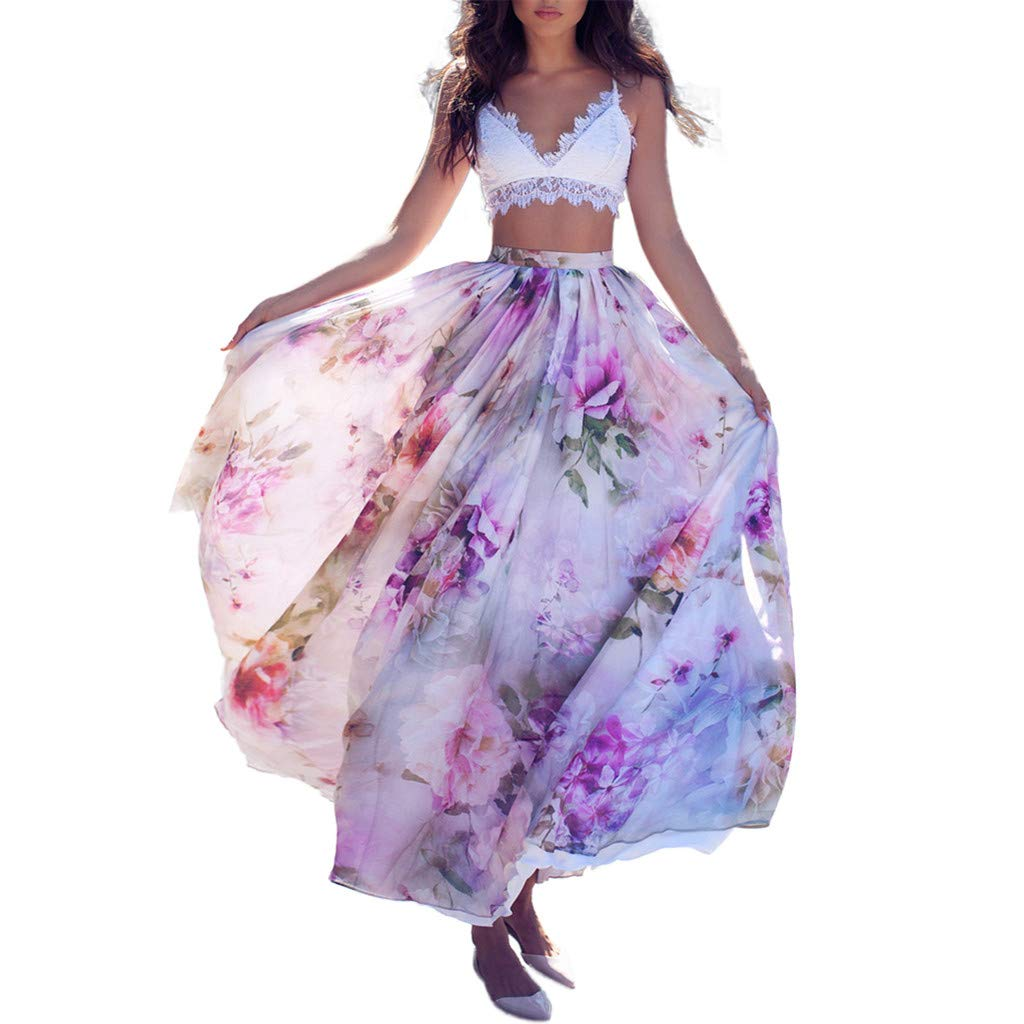 Ladies Maxi Skirts Spring Summer Floral Print Fashion Casual Pleated Bohemia Big Long Skirt (L, Purple)