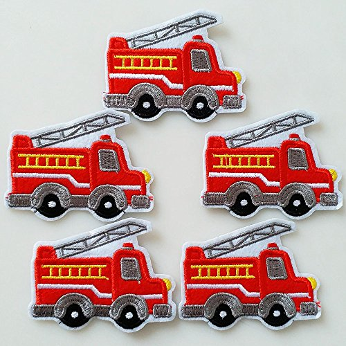 Set of 10pcs Fire Engine Fire Truck Iron On Sew On Cloth Embroidered Patches Appliques Machine Embroidery Needlecraft Sewing Girls projects