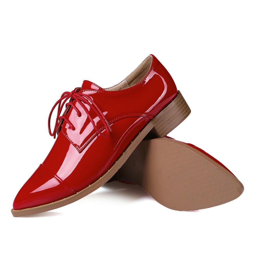 AnMengXinLing ZONGHENGXIEDAO-70-855-1 - Zapatos Planos con Cordones de Charol Mujer 41 EU|Red